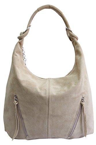 AMBRA Moda Damen Ledertasche Shopper Wildleder Handtasche Schultertasche Beuteltasche Hobo Tasche Groß WL822 (Beige Sand)