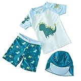 Xmansky Traje de baño Infantil Unisex con Estampado de Dinosaurio Camiseta de Manga Corta de 3 Piezas + Shorts de Playa + Gorro para el Sol Ropa Deportiva para niños y niñas