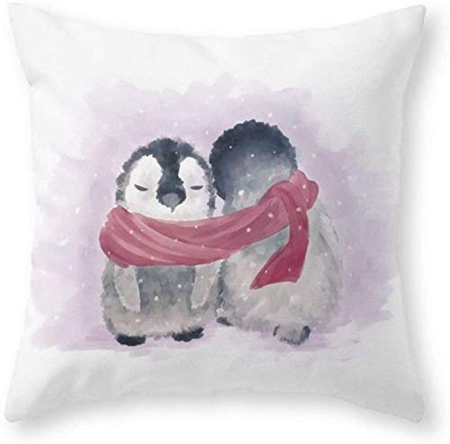 Penguin Cuddle Throw Pillowcase Cover Personalized Pillow Case Cushion Cover New Home Office Decoration Square 18 x 18 Inch/45 x 45cm