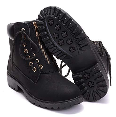 DADAWEN Women's Round Toe Waterproof Ankle Bootie Lace Up Low Heel Work Combat Boots