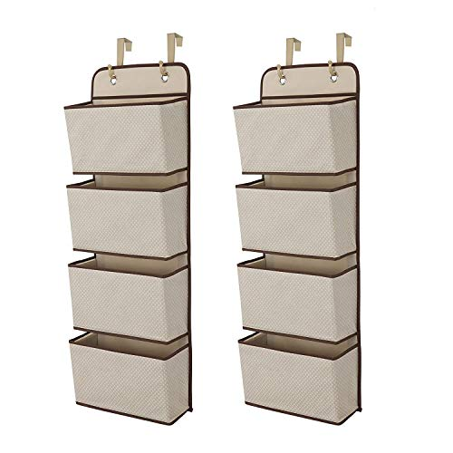 Delta Children 4 Pocket Over The Door Hanging Organizer - 2 Pack, Easy Storage/Organization Solution - Versatile and Accessible in Any Room in the House, Beige