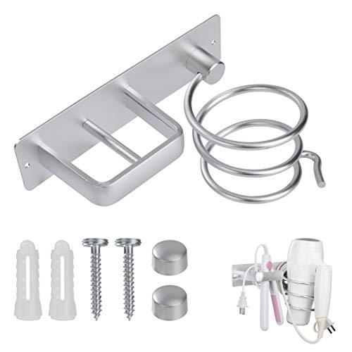 QH-Shop Soporte para Secador de Pelo de Aluminio, Soporte para Secador de Pelo Montado en Pared Metal Estante de Organizador para Baño, Dormitorio, Hotel (Plata)