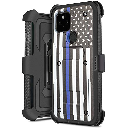for Google Pixel 5 Holster with Built in Screen Protector Heavy Duty Full-Body Shockproof Armor Case Belt-Clip, Kickstand (Blue Flag)