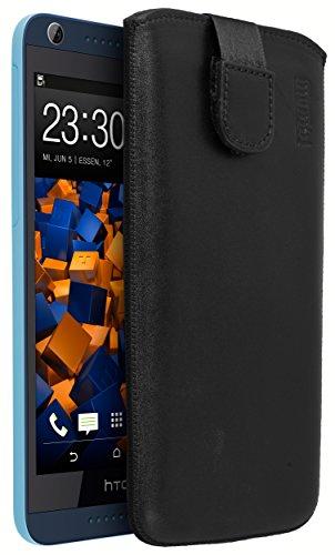 mumbi Echt Ledertasche kompatibel mit HTC Desire 626G Hülle Leder Tasche Hülle Wallet, schwarz