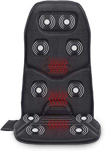 COMFIER Massage Seat Cushion with Heat - 10 Vibration Motors, 3 Heating Pad, Back Massager for Chair, Massage Chair Pad for Back Pain Relief Ideal Gifts for Women,Men