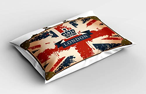 ABAKUHAUS Union Jack Pillow Sham, Vintage Suitcase, Decorative Standard Size Printed Pillowcase, 32' X 16', Dark Blue Red Brown