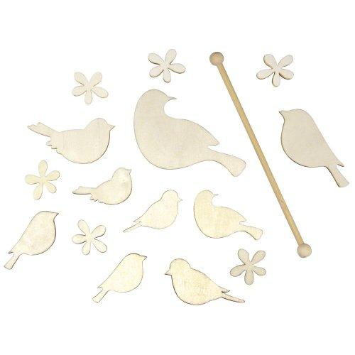 RAYHER Houten Mobiele Set, Vogels en Bloemen, 3-18cm, Hout/gekleurd, 24 x 8 x 2,2 cm