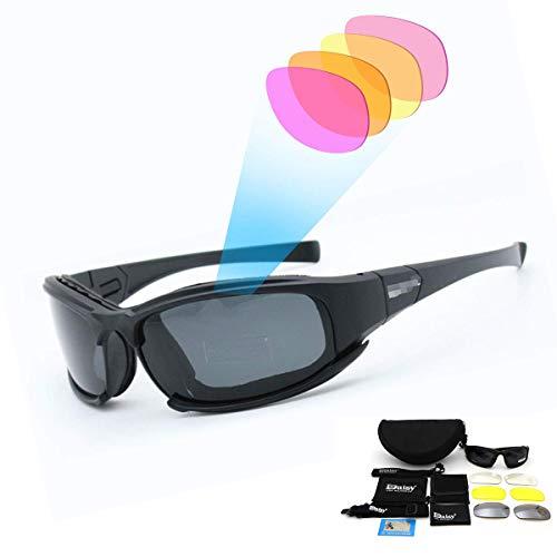 SUNWAN - Gafas de sol polarizadas deportivas, gafas de sol X7 de tácticas militares con 4 lentes intercambiables, gafas protectoras para hombres y mujeres para ciclismo, esquí, pesca