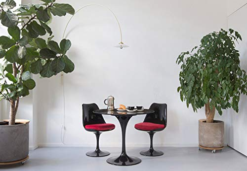 Little Tulip Shop 90cm Black Portoro Marble Circular Tulip Dining Table with 2 Tulip Side Chairs (Red)