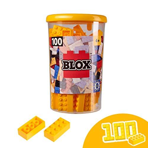 Simba 104118898 Blox, gelbe Bausteine Made in Italy, 8er Steine, inkl. Aufbewahrungsdose, höchste Qualität und 100 Prozent kompatibel mit bekannten Spielsteinen