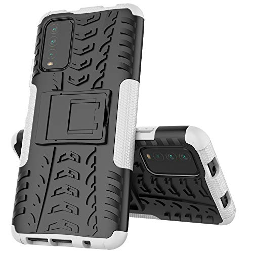 MingMing Funda para Xiaomi Poco M3 Fundas Carcasa Tough Armor Series Robusta Armadura Híbrida TPU+PC, Bumper Case Cover para Xiaomi Poco M3-Blanco