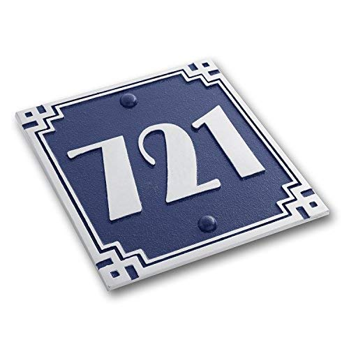 House Number Address Plaque Art Deco Line Style. Cast Metal Personalised Yard Or Mailbox Sign In Blue With Oodles Of Number And Letter Options. Handmade In England By The Metal Foundry Just For You