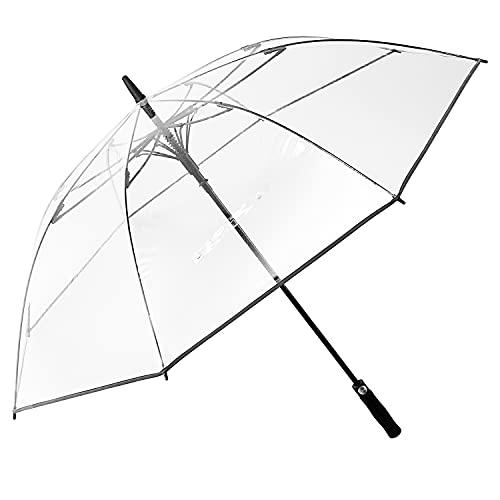 G4Free 62 Inch Clear Golf Umbrella Transparent Auto Open Large Stick Umbrella Oversized Umbrella Windproof Waterproof with Black Sleeve for Women Men
