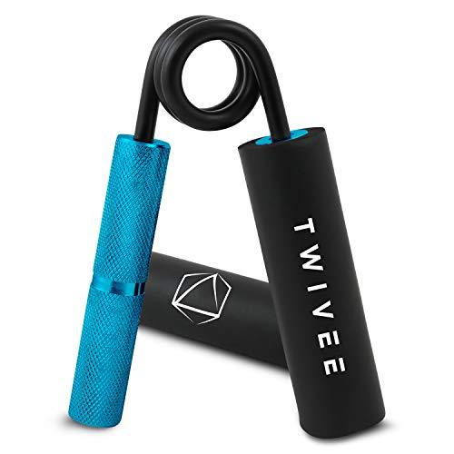 TWIVEE - Fingerhantel für maximale Griffkraft - Unterarmtrainer mit Griffpolster und Tasche - Gripper aus gehärtetem Stahl und Aluminium - Handtrainer - Handmuskeltrainer