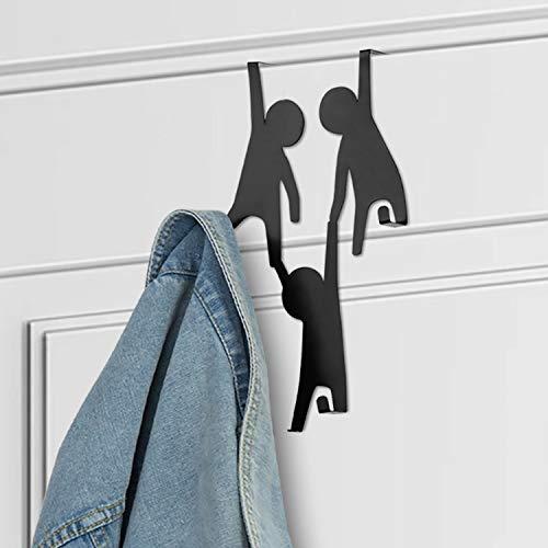 MyGift Over The Door Hook Hanger Cartoon People Design Black Metal 3-Hook Rack for Garment, Robe, Towels