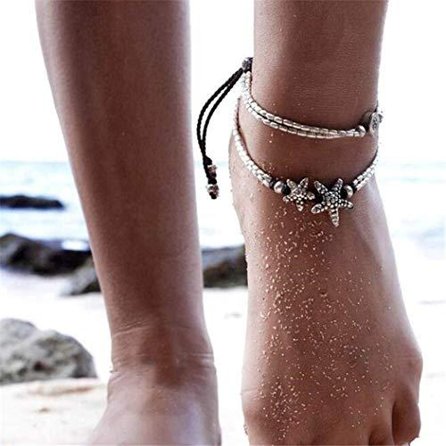 Chicer Brazalete de tobillo, diseño de estrella de mar, Vintage, ideal para llevar con Sandalias o Pies Descalzados, Playa, Joyería Ajustable para Mujer