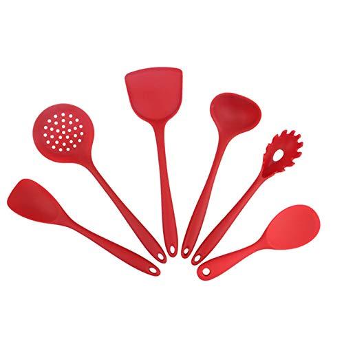Pokonl 5/6pcs Utensili Da Cucina Silicone Utensili Da Cucina Set Antiaderente Spatola Pala Utensili Da Cucina Set di Utensili Da Cottura Casa-Puro Rosso