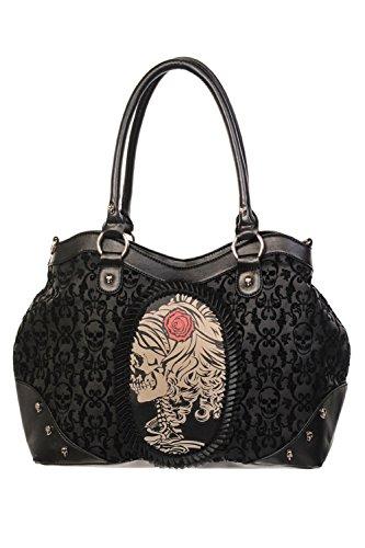 Bolso reunida camafeo de Rose del cráneo Señora Negro prohibi - Black / One...