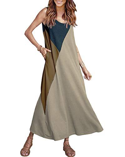 YOINS Maxikleider Damen Strandkleid Sommerkleid für Damen Lang Rundhals Patchwork Sexy Kleid Beige EU36-38