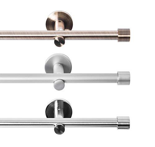 Rollmayer metall Gardinenstange Ø 16mm Rohr, Silber für Ösenvorhang Gardinen Vorhang (Crux 120cm lang, silber, 1-läufig) Wandbefestigung Ohne Ringe!