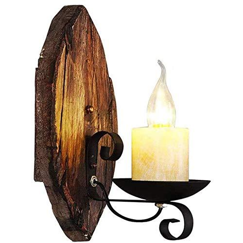 Addsn E14 Wandleuchte Holz Vintage Innen Kerzen Wandlampe mit Eisen Halterung, Schwarz Retro Klassisch Deko Wand Lampe für Treppen Flur Aisle Loft Bar Schlafzimmer,B