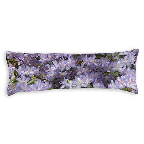 """Purple Rhododendrons Floral Photo Body Pillow Cover Pillowcases Cushion with Hidden Zipper Closure for Sofa Bench Bed Home Decor 20""""x54"""""""