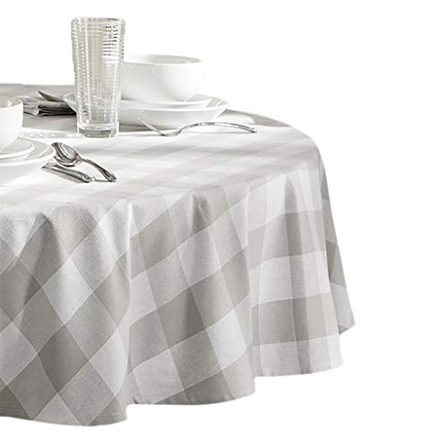 Elrene Home Fashions Farmhouse Living Buffalo Check Tablecloth, 70' Round, Gray/White