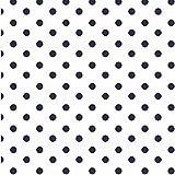 babrause® Baumwollstoff Punkte Weiß Blau Webware
