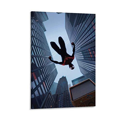 Ghychk Miles Morales True Spider-Man - Póster decorativo para pared, impresión en lienzo, para sala de estar, dormitorio, listo para colgar, 60 x 90 cm