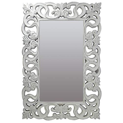 la fabrica del cuadro Espejo Decorativo de Pared, Barroco, Modelo Berrocal - Medida Exterior 88x128 cm, Medida de Espejo 48x88 cm (Blanco Decapé)