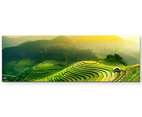 Paul Sinus Art Leinwandbilder   Bilder Leinwand 120x40cm Reisterrassen im Sonnenaufgang
