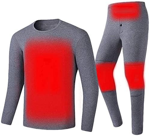 YLFC - Biancheria intima termica riscaldata + pantaloni riscaldati per uomo con alimentazione USB a batteria in pile, riscaldamento termico, taglia M, colore: Grigio