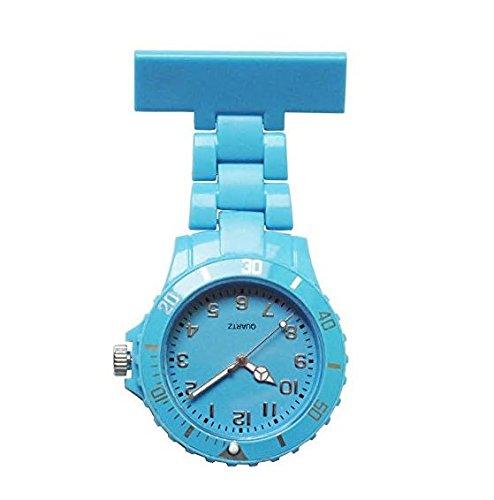 King.MI - Reloj de Bolsillo con Broche para Colgar con Solapa, para Mujeres y Niñas, Azul Claro