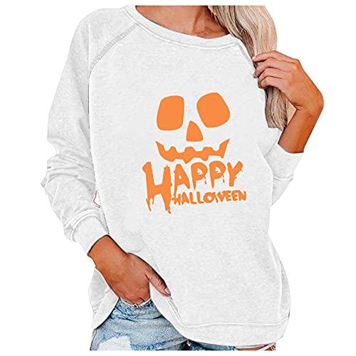 Lenfeshing Jersey Estampado de Halloween Personalizado de Manga Larga con Cuello Redondo Suelto para Mujer