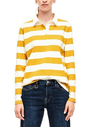 s.Oliver RED Label Damen Poloshirt mit abgesetztem Kragen Creme Stripes 38