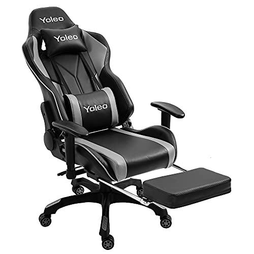 YOLEO Gaming Stuhl, Bürostuhl mit Fußstütze, Ergonomischer Stuhl mit Kopfstütze und Lendenkissen, Racing Stuhl Hohe Rückenlehne, drehbar, höhenverstellbar, bis 200 kg belastbar, PU-Leder, Schwarz-Grau