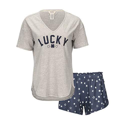 Lucky Brand Women's Drapy Graphic Tee T-Shirt and Short Pajama Set, Heather Grey, Medium