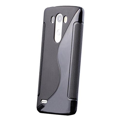 iCues LG G3 S-Line Caso Negro Negro | protección [Protector de Pantalla, Incluyendo] Caso de la Piel del Gel de Silicona Cubierta Cubierta Funda Carcasa Bolsa Cover Case