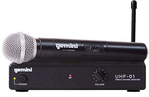 Gemini UHF Series UHF-01HL-F1 - Sistema de audio profesional DJF y micrófono de mano con alcance de 150 pies