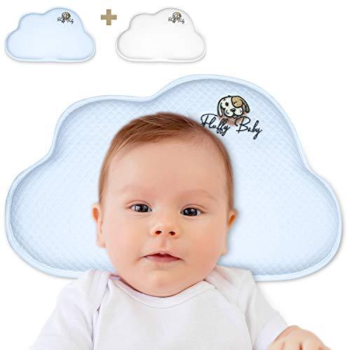 Fluffy Baby Perfect Pillow – Orthopädisches Babykissen für Neugeborene/Säuglinge – Gegen Flachkopf/Plattkopf/Kopfverformung- 2 Bezüge - Gedächtnisschaum -Weiss/blau