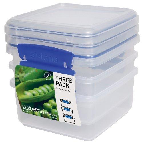 Sistema Lunchbox Klip it 1,2l 3 Stück, Plastik, transparent, 14 x 14 x 8 cm, 3-Einheiten