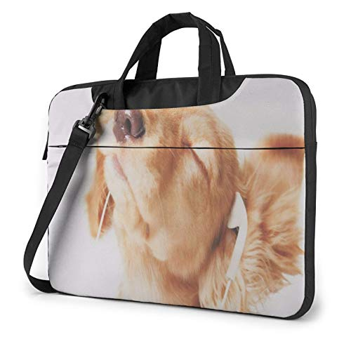 Laptop Shoulder Bag - Dog Listening Music Printed Shockproof Waterproof Laptop Shoulder Backpack Bag Briefcase 13 Inch