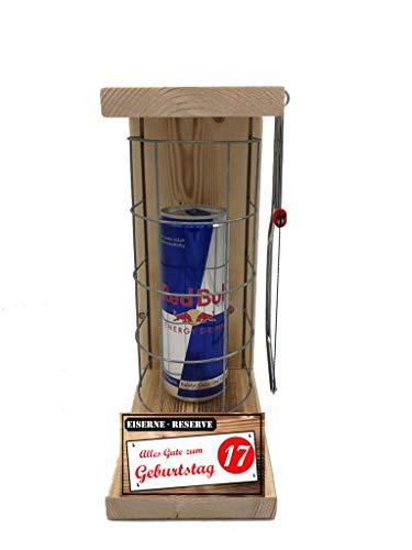 Alles Gute zum 17 Geburtstag - Eiserne Reserve ® Red Bull 0,473L incl. Säge zum zersägen des Gitter - Die lustige Geschenkidee