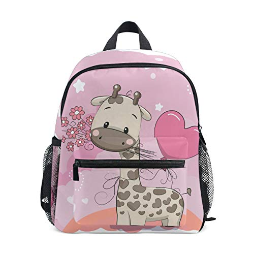 Mochila para niños, correa de pecho, jirafa de dibujos animados, ligera, para la escuela de niños, para preescolar, niños y niñas Rosa Jirafa 002 25.4x10.16x30.48 cm