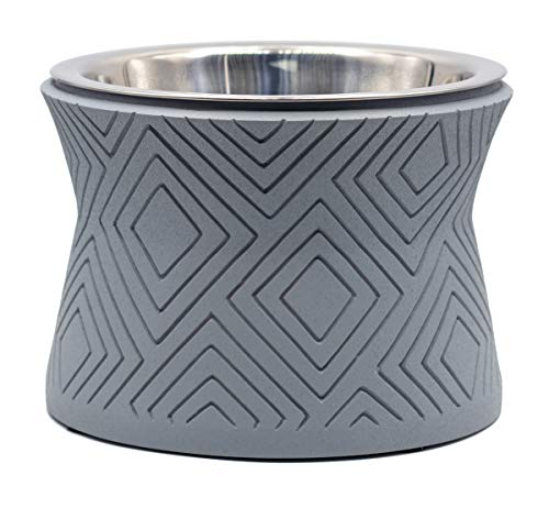 Pet Junkie Santa Fe Elevated Dog Bowl for Food and Water with Stainless Steel Washable Inner Bowl, Gray (Small)