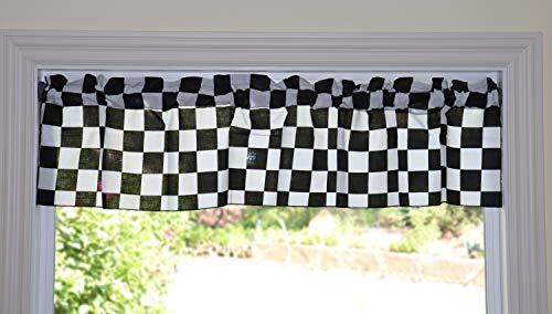 "lovemyfabric Poly Cotton Checker Board/Race Flag/Chess Board Print Bedroom Kitchen Bathroom Classroom Diner Curtain Valance Window Treatment/Window Decor (58"" Wide) (14"" Tall)"