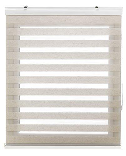 Blindecor Vela - Estor enrollable de doble capa, Noche y Día, Beige (Lino Crema), 140 x 180 cm, ancho x largo