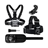 Kit for Action Camera Chest Mount Head Mount and Wrist Mount in one Package for Hero 4, 5,6,7,8,9 one X, X2, R, and Others. Premium Material Chest Strap for Many Sports MTB, Watersports, on Ice, etc