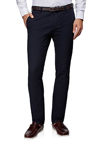 oodji Ultra Hombre Pantalones de Algodón con Cinturón, Azul, 40