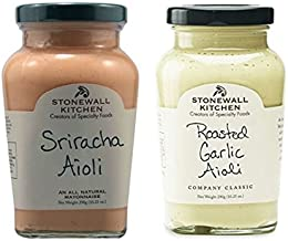 Stonewall Kitchen All Natural Aioli Sriracha 10.25 oz & Roasted Garlic Aioli 10.25 oz (Pack of 2)